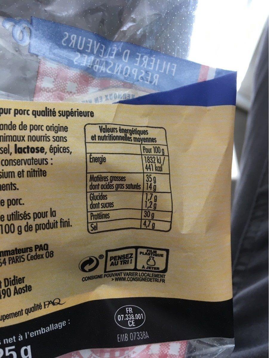 Saucisse seche - Voedigswaarden
