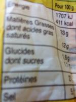 Le Bâton de Berger - saucisson sec qualité supérieure - Voedingswaarden - fr