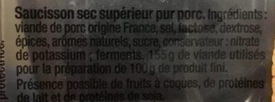 Saucisson sec -  Tranches fines - Ingrédients - fr