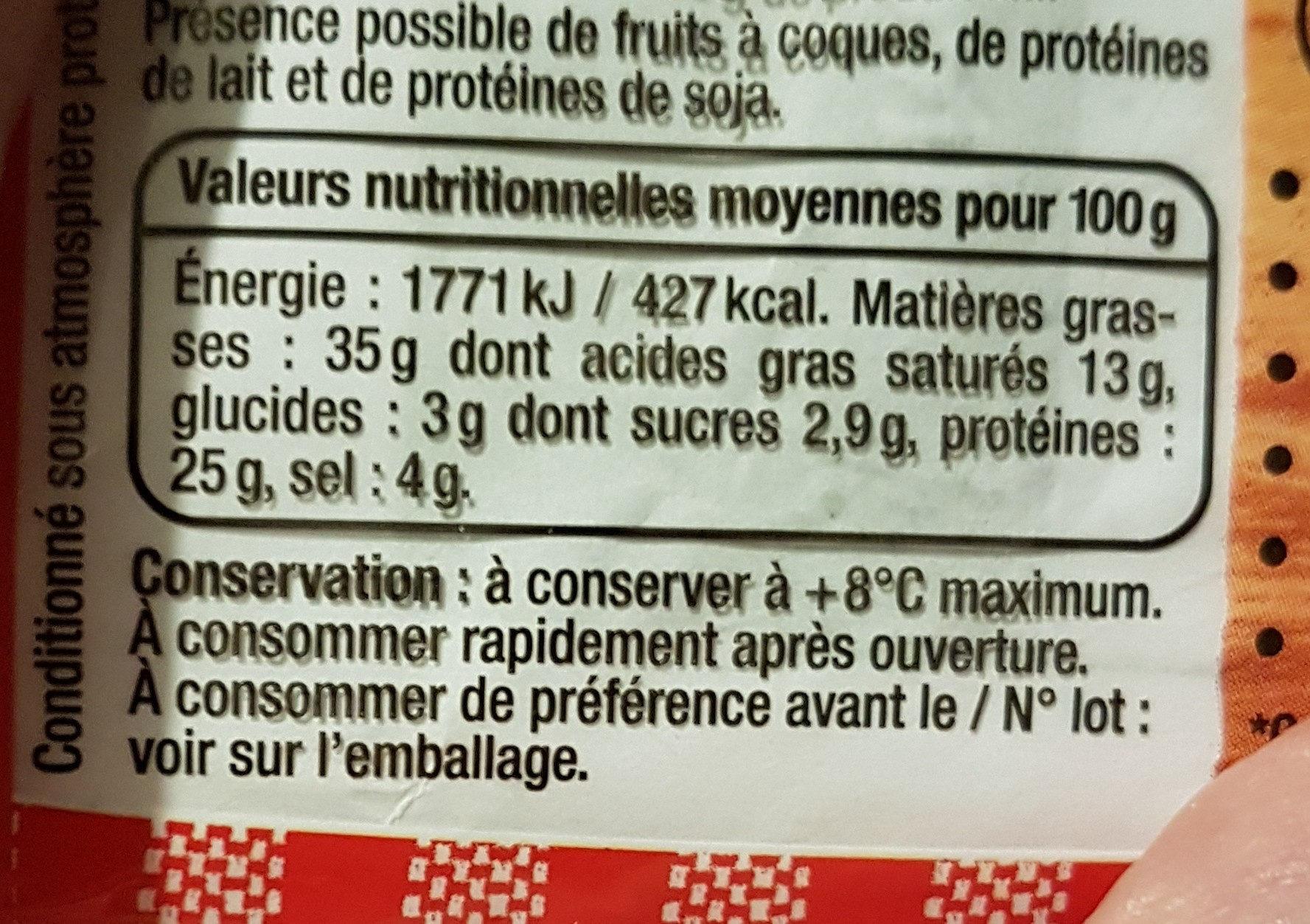 Saucisson sec - Voedingswaarden - fr