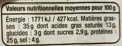Saucisson sec -  Tranches fines - Informations nutritionnelles - fr
