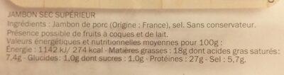 Jambon sec Supérieur - Informations nutritionnelles - fr