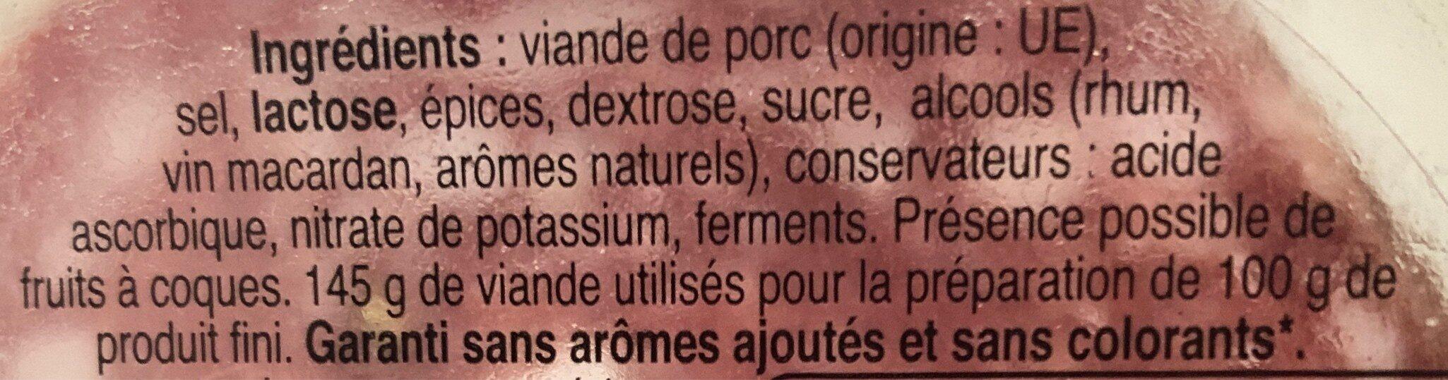 Les belles tranches de rosette - Ingredientes - fr