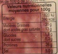 Les belles tranches de rosette - Información nutricional - fr