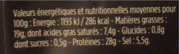 Les Fines et Fondantes - Valori nutrizionali - fr