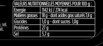 Le Plateau - 10 tranches - Aoste - Informations nutritionnelles - fr
