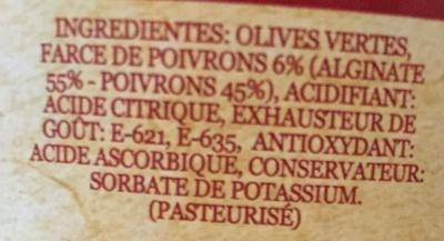 Olives vertes farcies aux poivrons - Ingredients