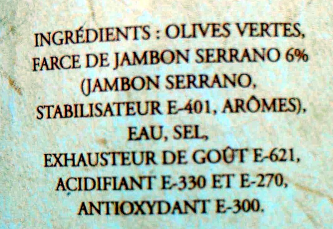 Olives Vertes à la Farce de Jambon Serrano - Ingrédients - fr