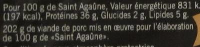 Saint Agaûne, les tranches - Informations nutritionnelles - fr