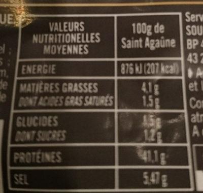 Les tranches Saint Agaunes - Informations nutritionnelles