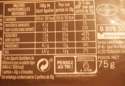 Les tranches Saint Agaunes - Informations nutritionnelles - fr