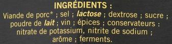 La spécialité de saucisson sec - Ingrédients - fr