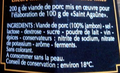 Saint Agaûne - Ingrédients