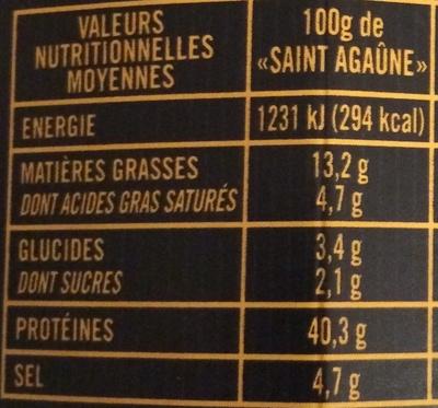 Saint Agaûne (format familial) - Informations nutritionnelles
