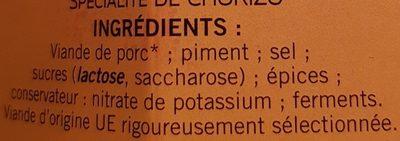 Chorizo Doux - Ingredients - fr