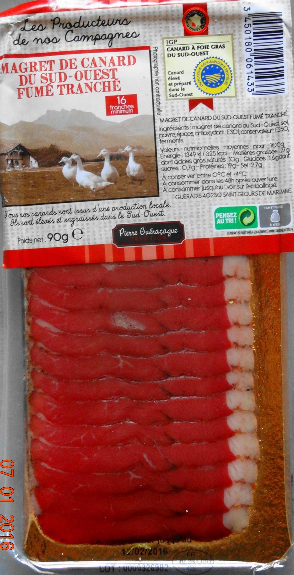 Magret de canard du Sud-Ouest fumé  tranché - Produit
