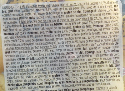 16 Mini Brioches Apéritif 4 variété - Ingrédients - fr