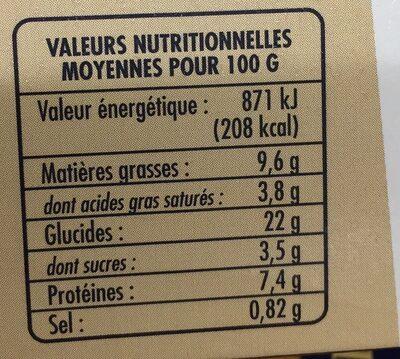 Toasts des Régions - Informations nutritionnelles
