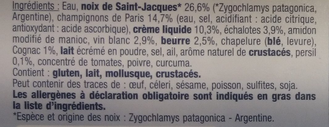 8 Mini Coquilles Saint-Jacques - Ingrédients - fr