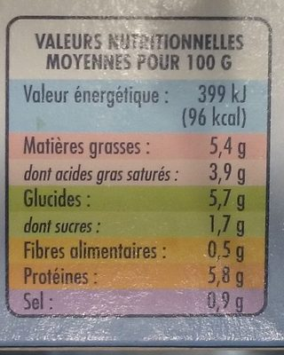 8 Mini Coquilles Saint-Jacques - Informations nutritionnelles