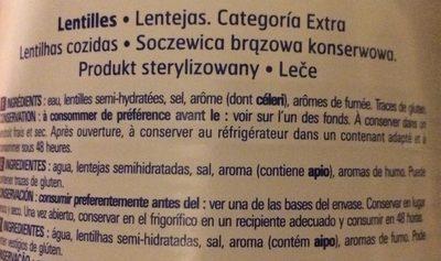 Lentilles préparées - Ingrédients - fr