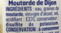 Moutarde de Dijon Forte - Ingrédients