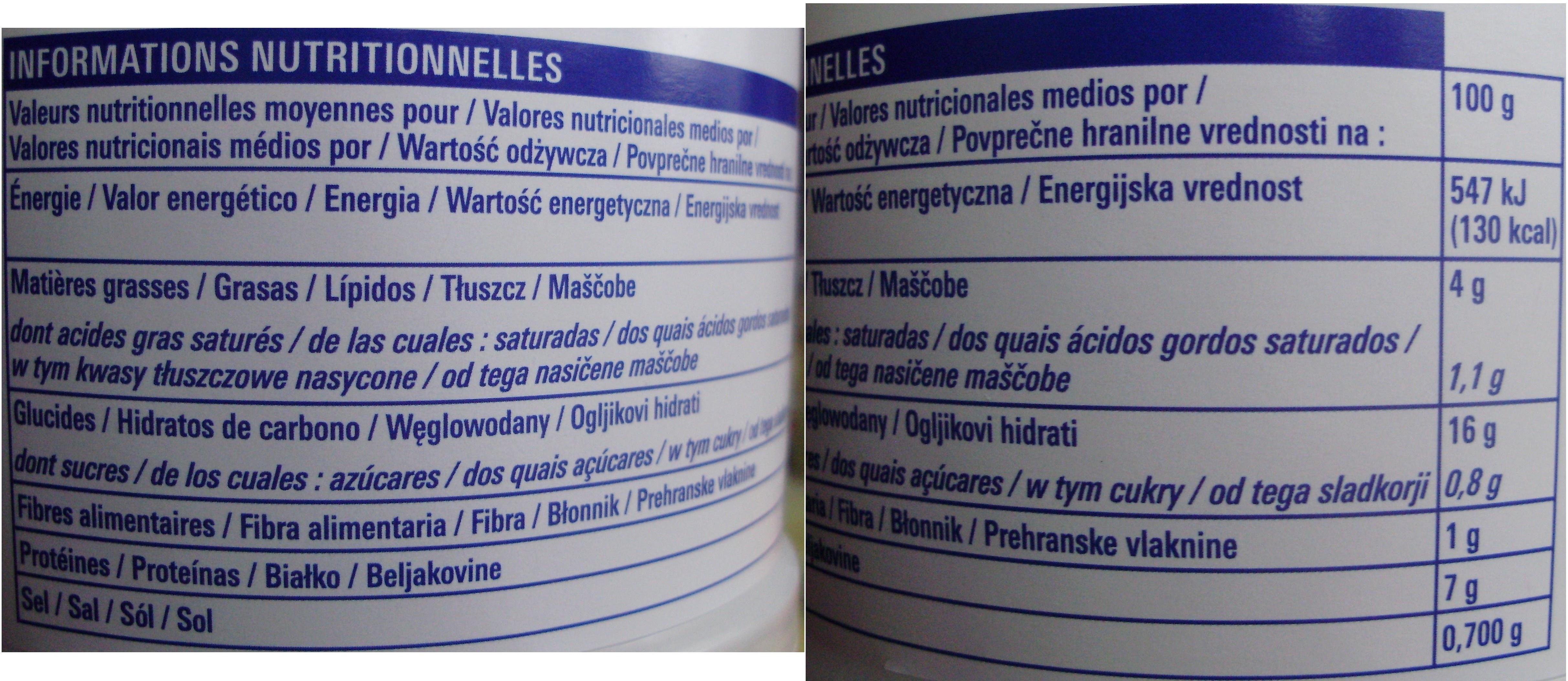 Paëlla (Volaille et Fruits de mer) ECO+ - Informations nutritionnelles