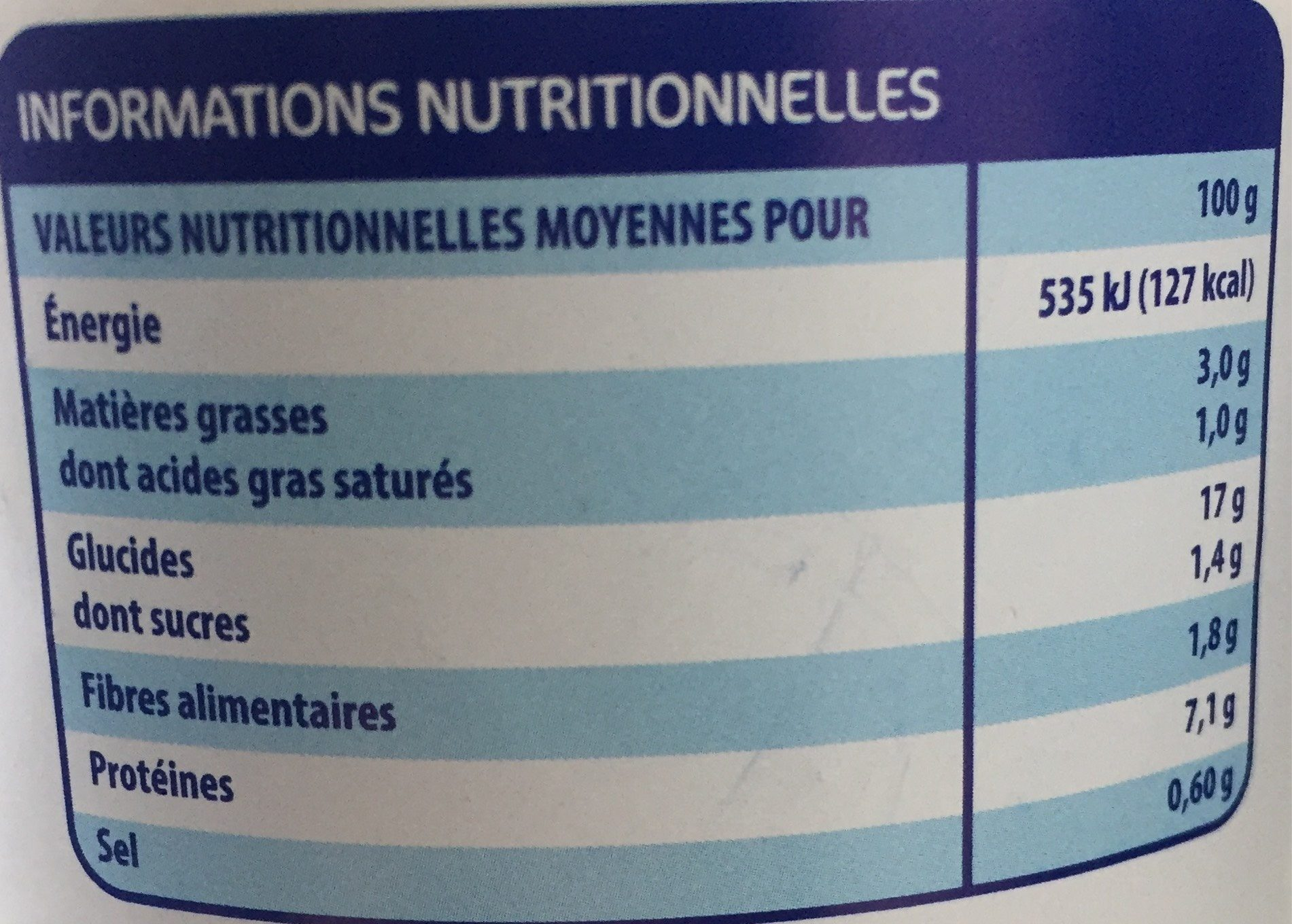 Coucous - Informations nutritionnelles - fr