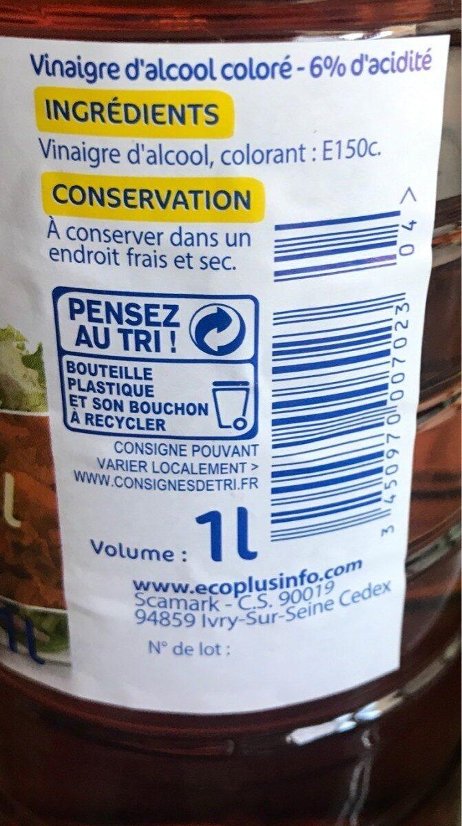 Vinaigre d'alcool coloré (6% d'acidité) 1 litre - €co + - Nutrition facts - fr