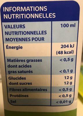 Jus d'ananas à base de jus d'ananas concentré - Informations nutritionnelles