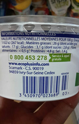 Ail fines herbes - Informations nutritionnelles