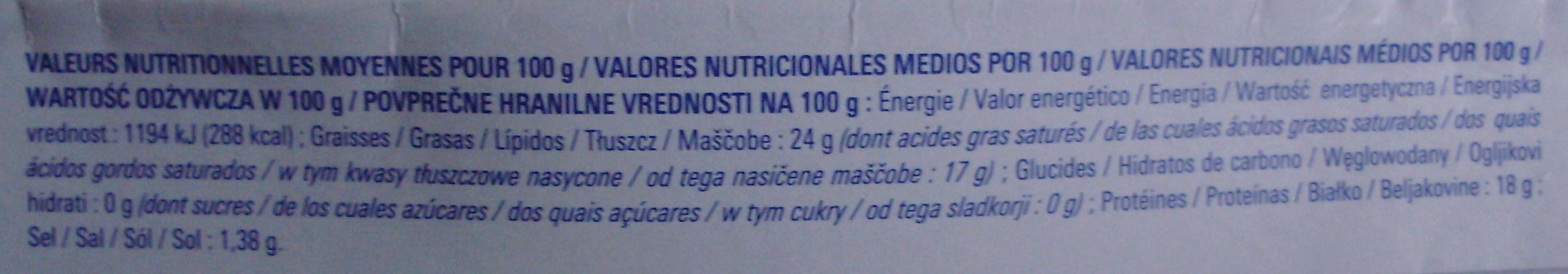 Coulommiers au Lait Pasteurisé (24 % MG) - Nutrition facts - fr