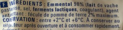 Emmental râpé - Ingrédients - fr