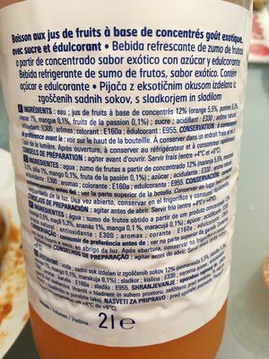 Boisson aromatisée Eco+. Exotique - Ingrédients