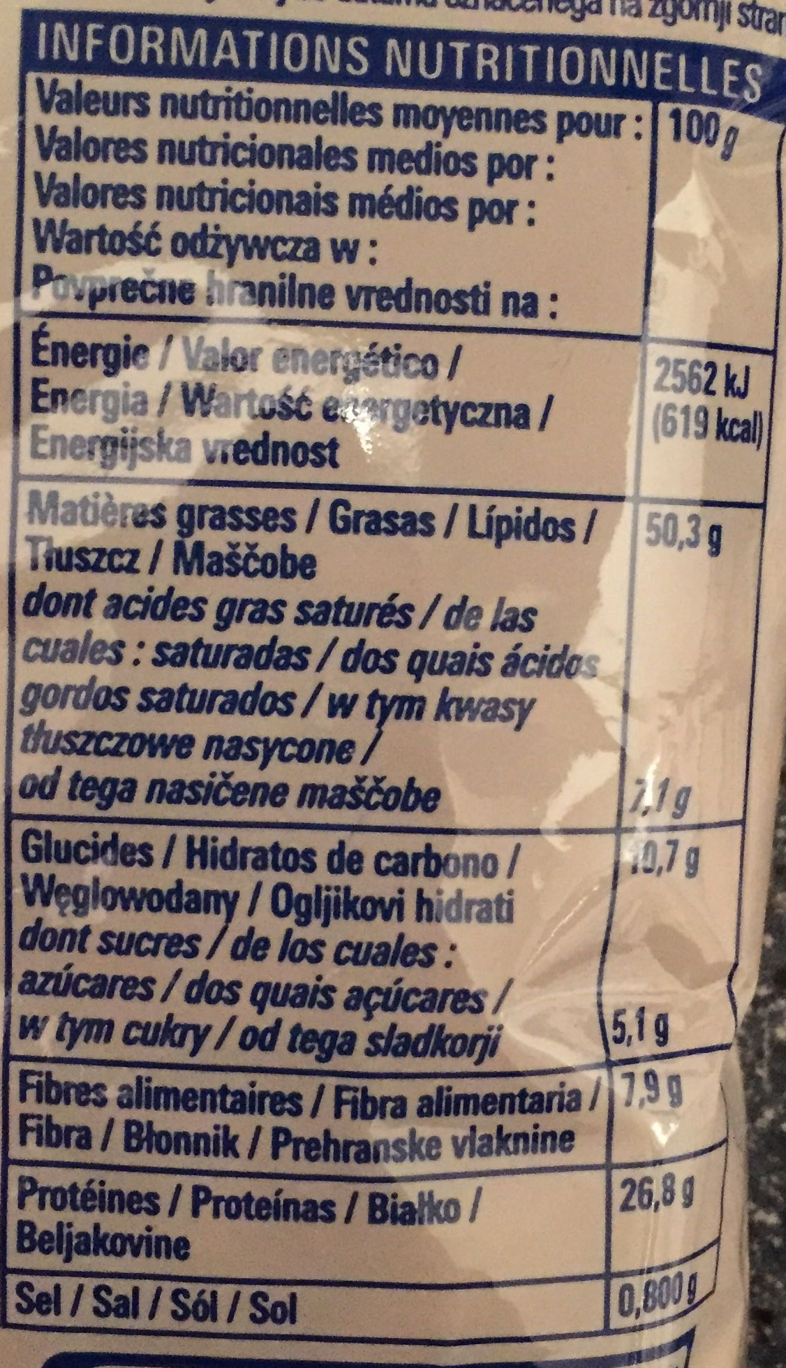 Cacahuètes grillées et salées - Informations nutritionnelles