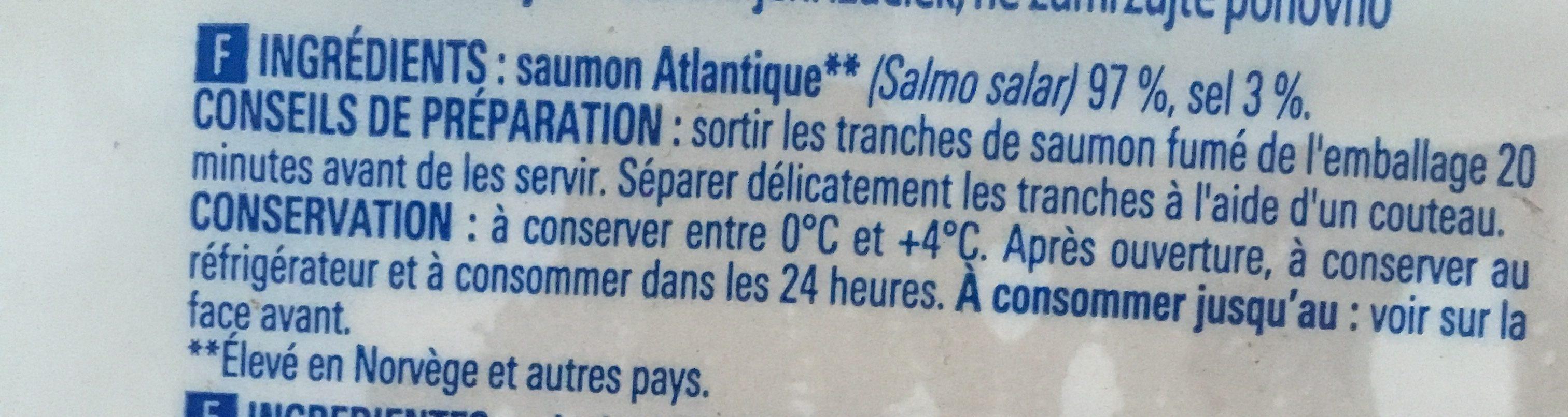 Saumon Atlantique Fume - Ingrédients - fr