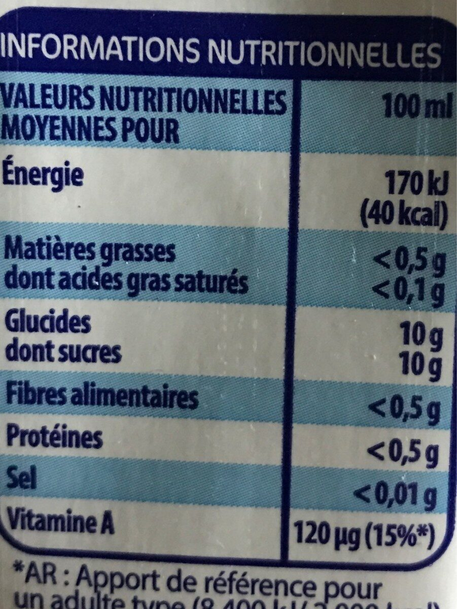 Nectar multrifruits - Nutrition facts - fr