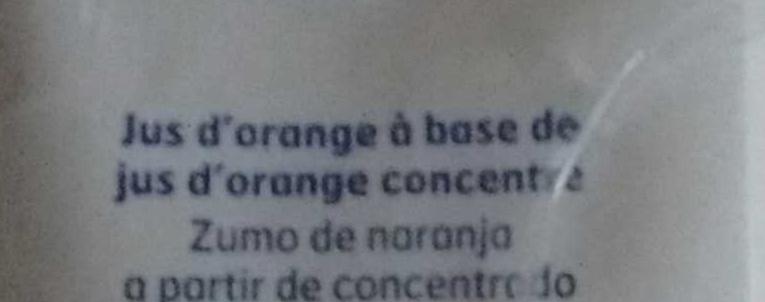 Jus d'Orange à base de jus concentré - Ingrediënten - fr