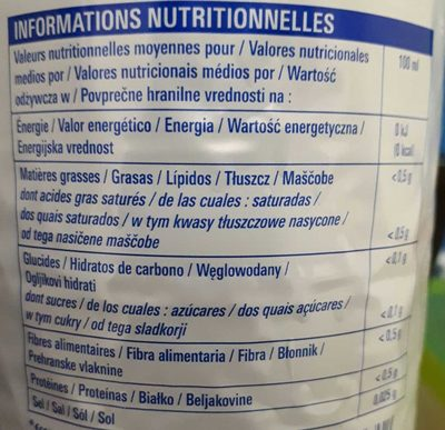 Cola Zéro - Informations nutritionnelles
