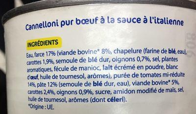 cannellonis - Ingrédients - fr