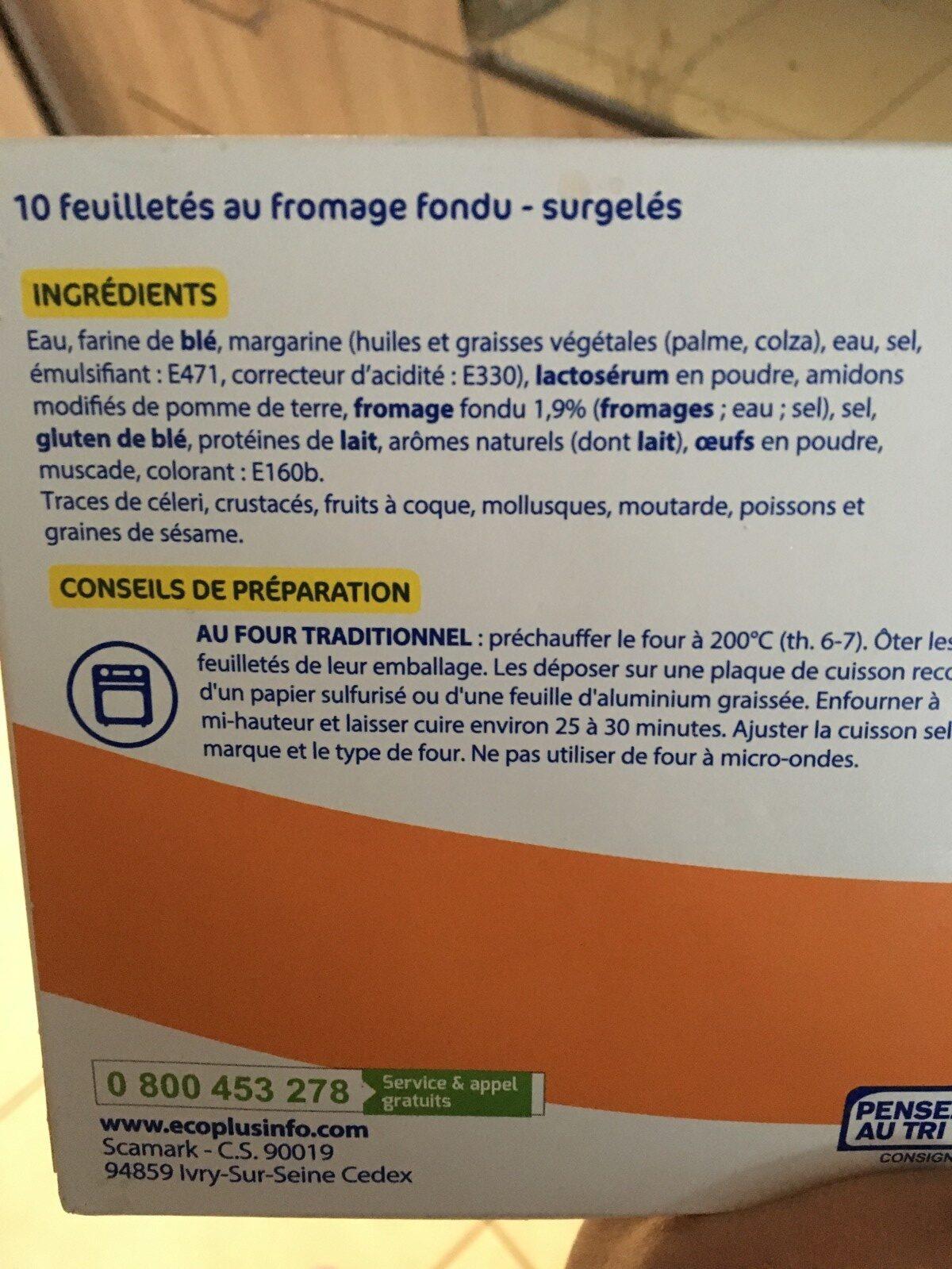 Feuilletés au Fromage Fondu - Ingrédients - fr