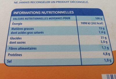 Feuilletés au Fromage Fondu - Informations nutritionnelles - fr