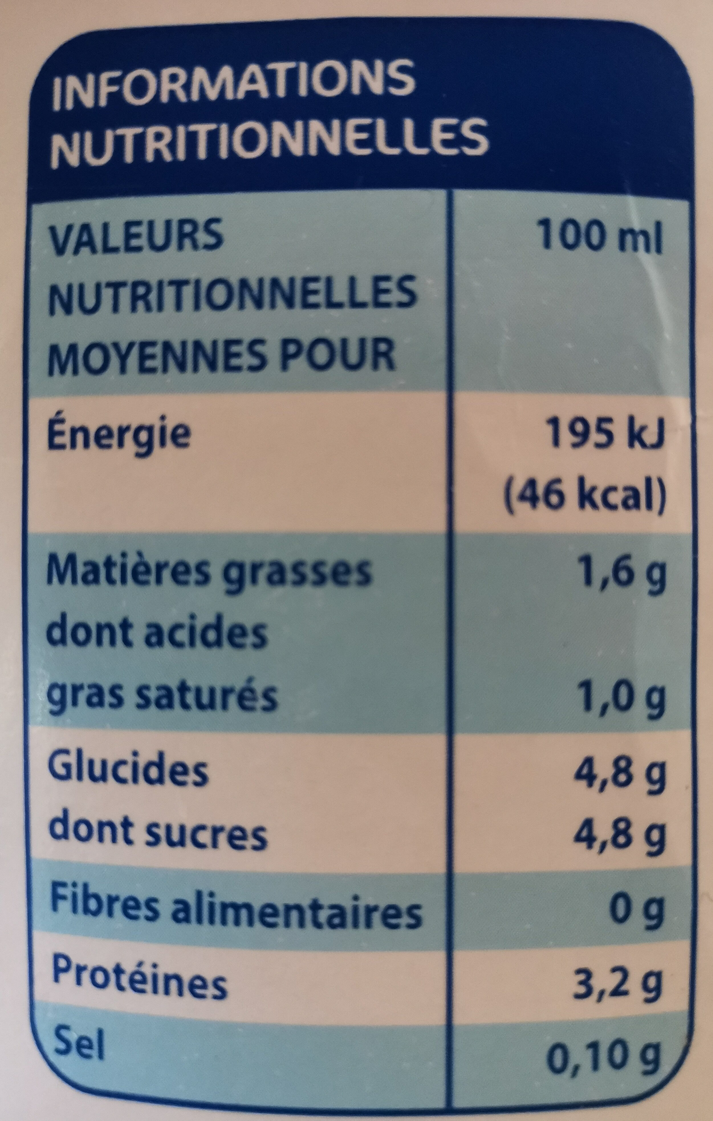 Lait demi-écrémé stérilisé UHT (1,5 % MG) - Voedingswaarden - fr