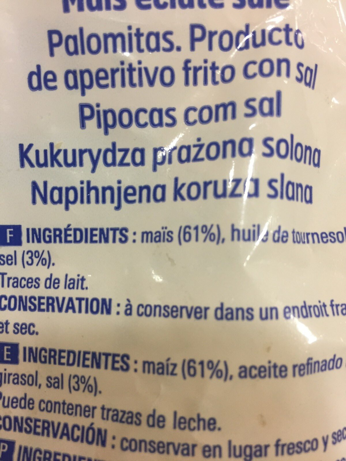 Pop Corn Salé - Ingredienti - fr