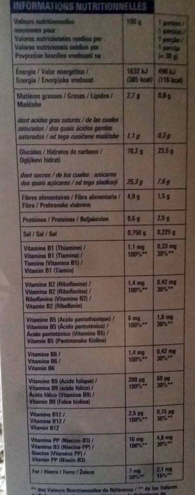Pétales de blé goût Chocolat - Informations nutritionnelles - fr
