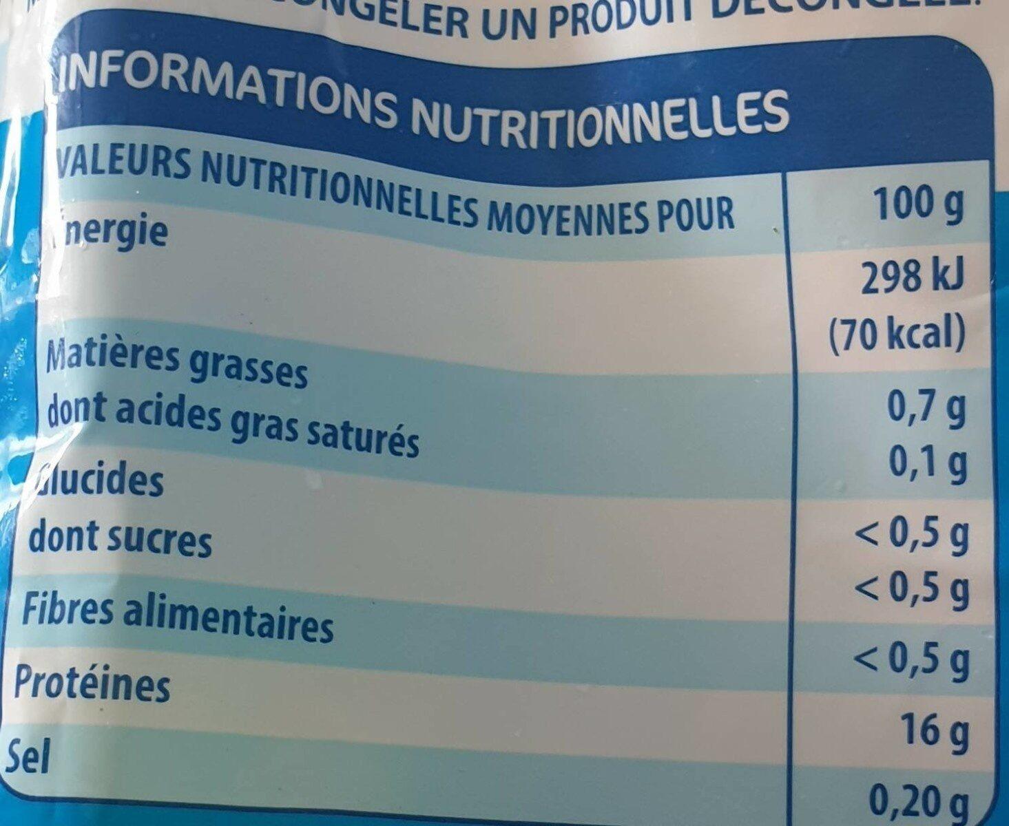 Filet de colin d'Alaska - Informations nutritionnelles - fr