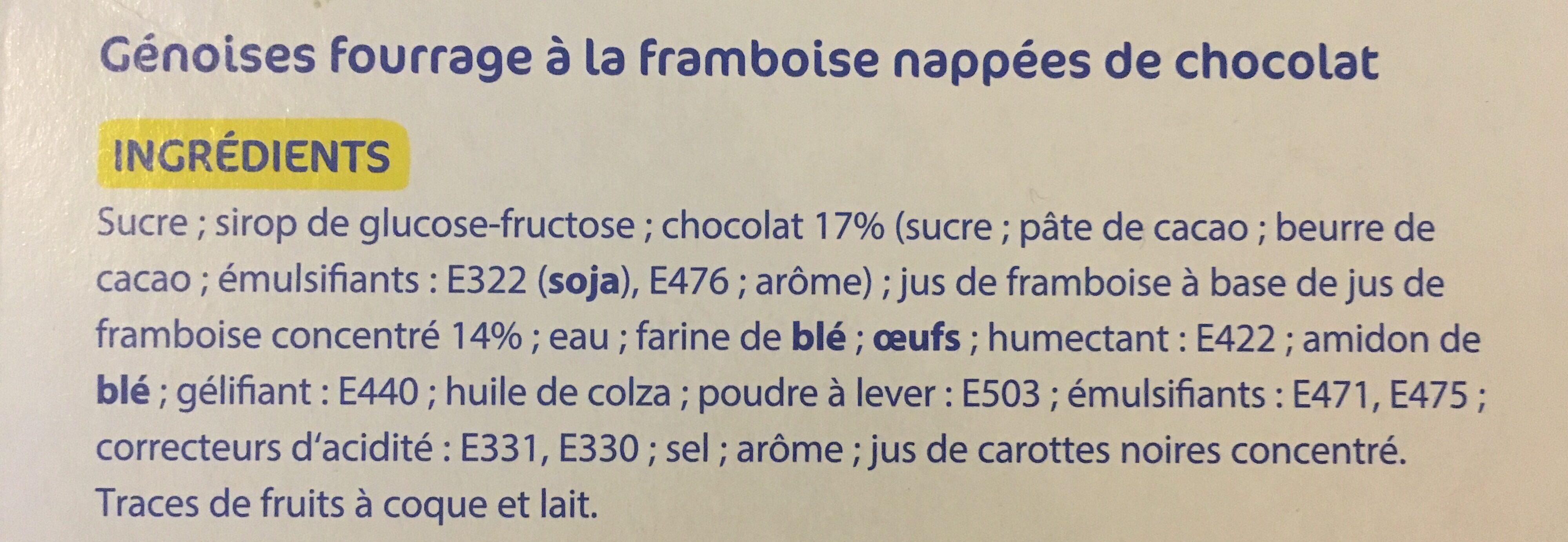 24 génoises fourrées goût framboise - Ingredients - fr