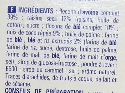 Muesli croustillant aux fruits - Ingrédients