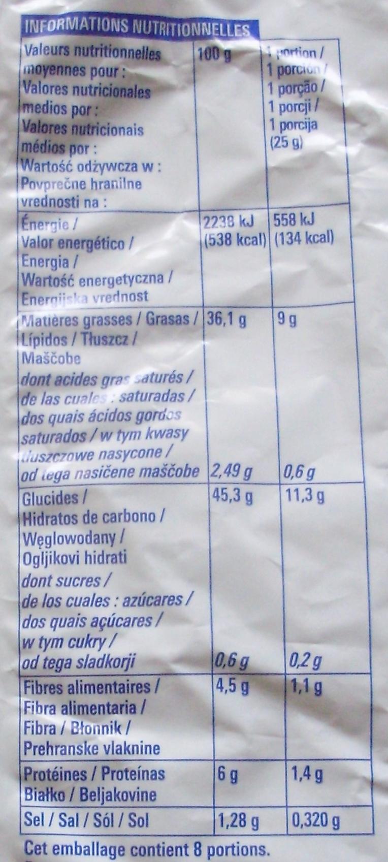 Chips Nature - Informations nutritionnelles - fr