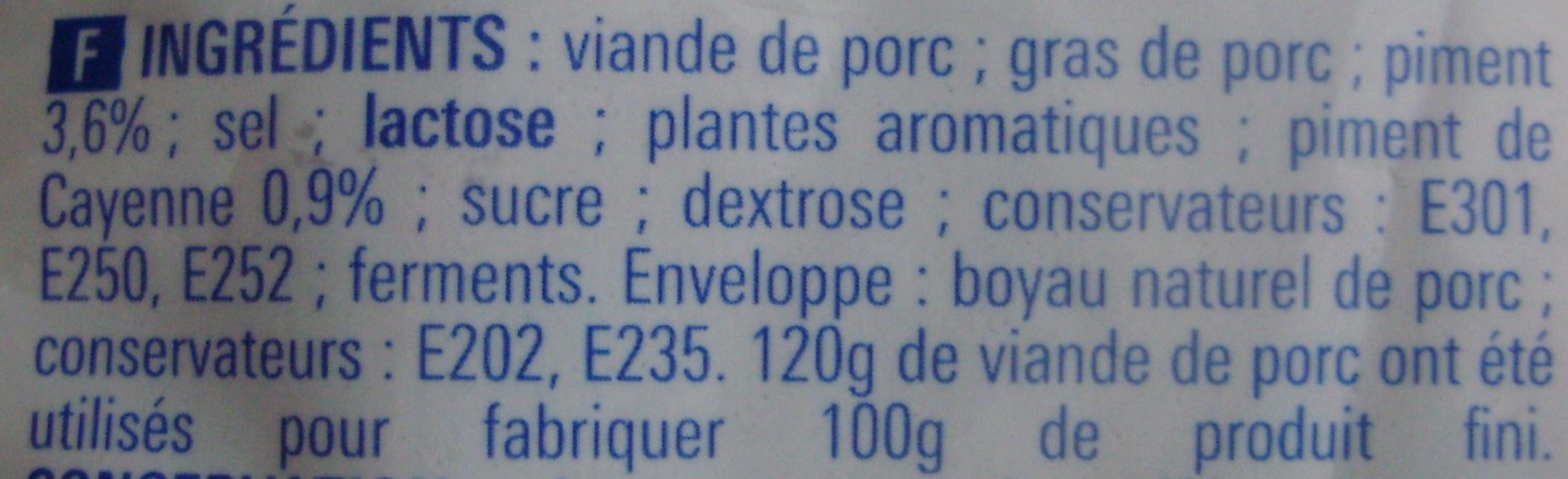 Chorizo (Fort) - Ingredients